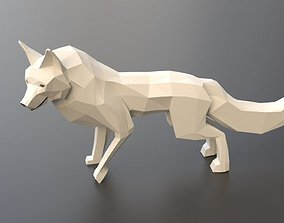 low poly arctic fox 3D asset rigged