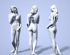 3D printable model sculpture Girl Low poly Sculpture