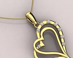 3D print model dual heart pendent with micro-prong setting