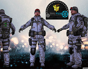 Whitenight Army Man Game 3D Model Ringing VR AR rigged 2