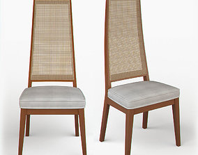 3D Cane-Backed Dining Chairs in the Style of Milo Baughman