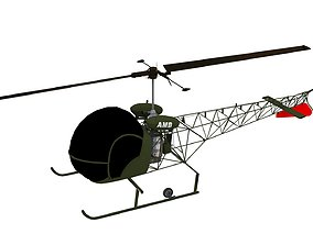 Bell H-13 Sioux Helicopter 3D model game-ready
