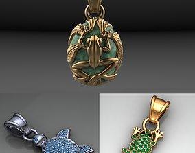 3D printable model amphibians pendants