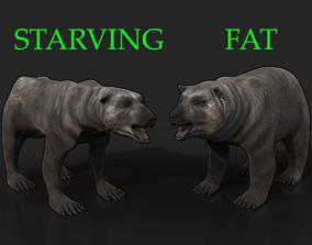 2 Bears - bony skinny starving ravenous 3D asset 2