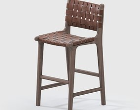 WOVEN LEATHER STRAP BARCOUNTER STOOL - SADDLE 3D model