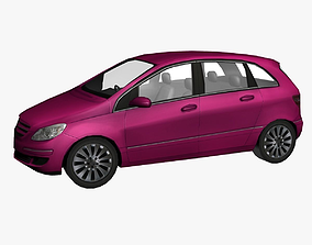 Pink Car Low Poly 3D asset