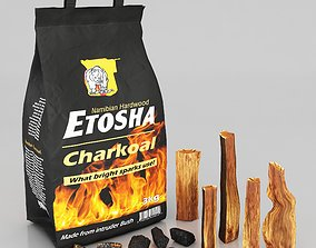 charcoal firewood in paper bag 3D model