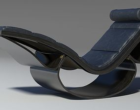3D model Rio chaise longue black wood leather pillow 1