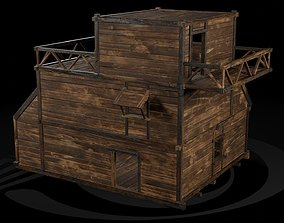 3D asset AAA Wooden Enterable Medieval Primal Thatched 4