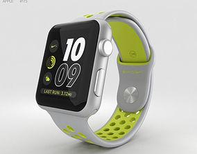 3D model Apple Watch Nike 42mm Silver Aluminum Case Flat 1
