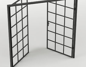 3D asset Double Glass Door with rectangular 36 squares