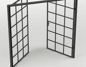 3D asset Double Glass Door with rectangular 36