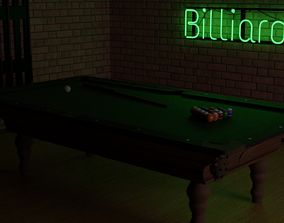3D model Pool Table in Billiards room with neon sign