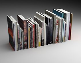 bookcase 3D model game-ready books