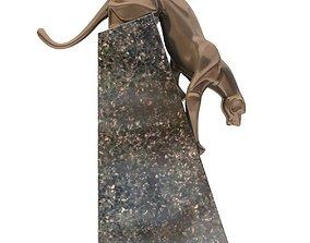 Sculpture coguar art deco style statue 3D model