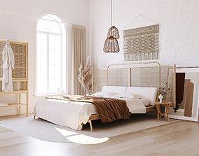 scandinavian bedroom scene 3D model