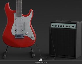 Yamaha Pacifica Guitar Textured 3D model PBR