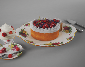 3D Cream Cake and Cup
