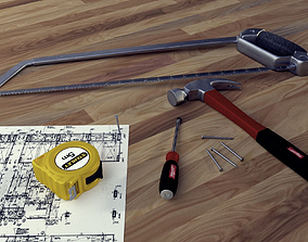 Tools Hammer Saw and ScrewDriver 3D model