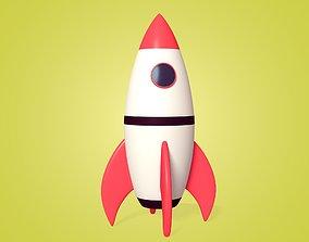 Cartoon Rocket Ship 3D asset