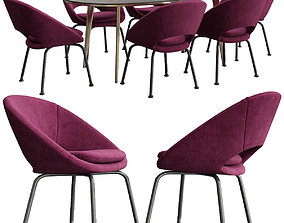 Orb Velvet Dining Chair Westelm 3D model
