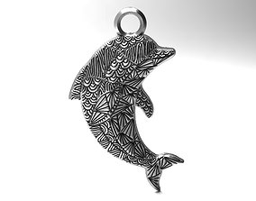 3D printable model Dolphin mandala zentangle pendant 1