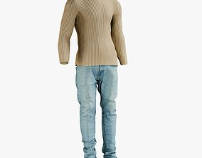 3D model Jeans with Sweater and Sneakers