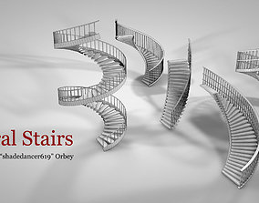 3D model low-poly Spiral Stairs