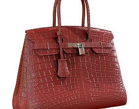 3D Hermes Birkin Bag Red Crocodile Leather