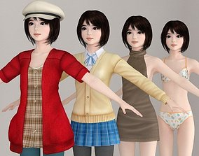 T pose nonrigged model of Chiharu with various outfit
