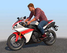 Full Rigged Rider with Motorbike Model rigged