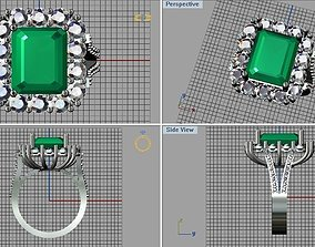 emerald cut diamond ring 3D printable model