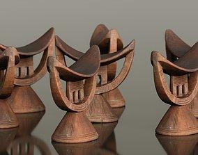 Headrest Africa Wood Furniture Prop 20 3D asset