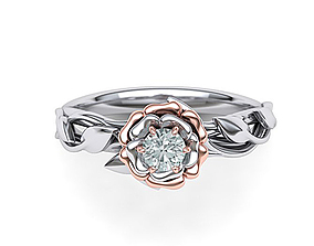 Leaves Rose Engagement ring Own design with 4mm stone 1