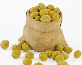 3D asset Potatos in a bag lowpoly