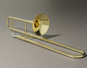 VR / AR ready Trombone - low poly and subdivision ready 3D