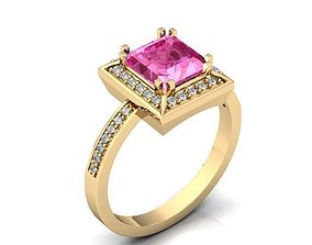 3D model Ring Pink Stone Gold BK396