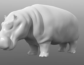 Hippopotamus low poly base mesh 3D asset