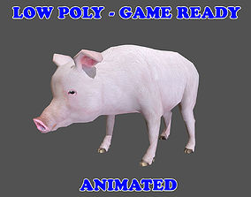 3D asset Low poly Pig Animated - Game Ready