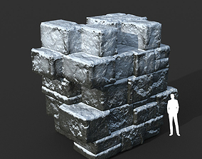 3D asset Low poly Snow Ruin Medieval Construction 02
