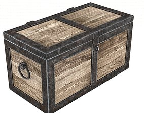 Medieval chest 3D asset game-ready