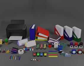 Stationery office set 3D asset