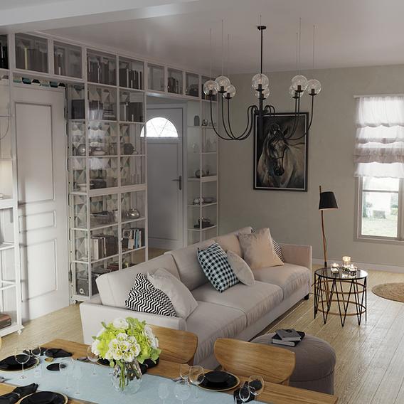 Dining-living room in heavenly gentle colors
