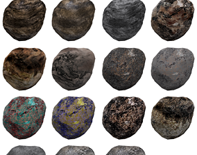 low-poly asteroids 3D model realtime
