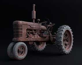 3D Old Tractor Model with Rusty Textures