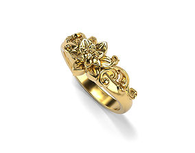 Barocco flower ring 7 SIZES 3D print model