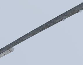 3D model Old Wooden Electric Pillar