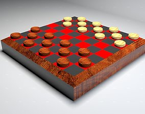 Wooden Checkers Set 3D model