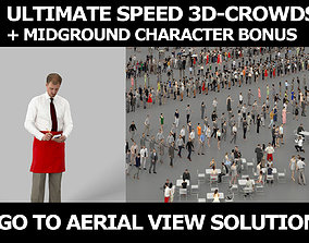 3d crowds Mistery taking order A midground Man Waiter