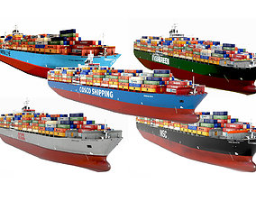 5 types Container ships collection 3D